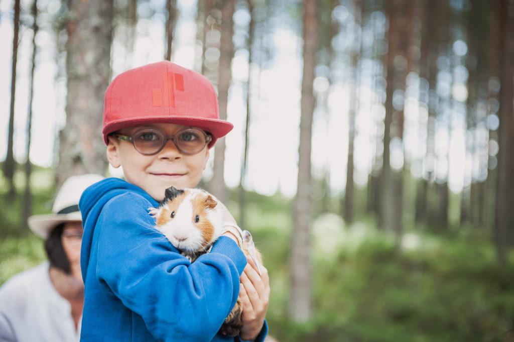 Poika pitää marsua sylissä ja hymyilee.