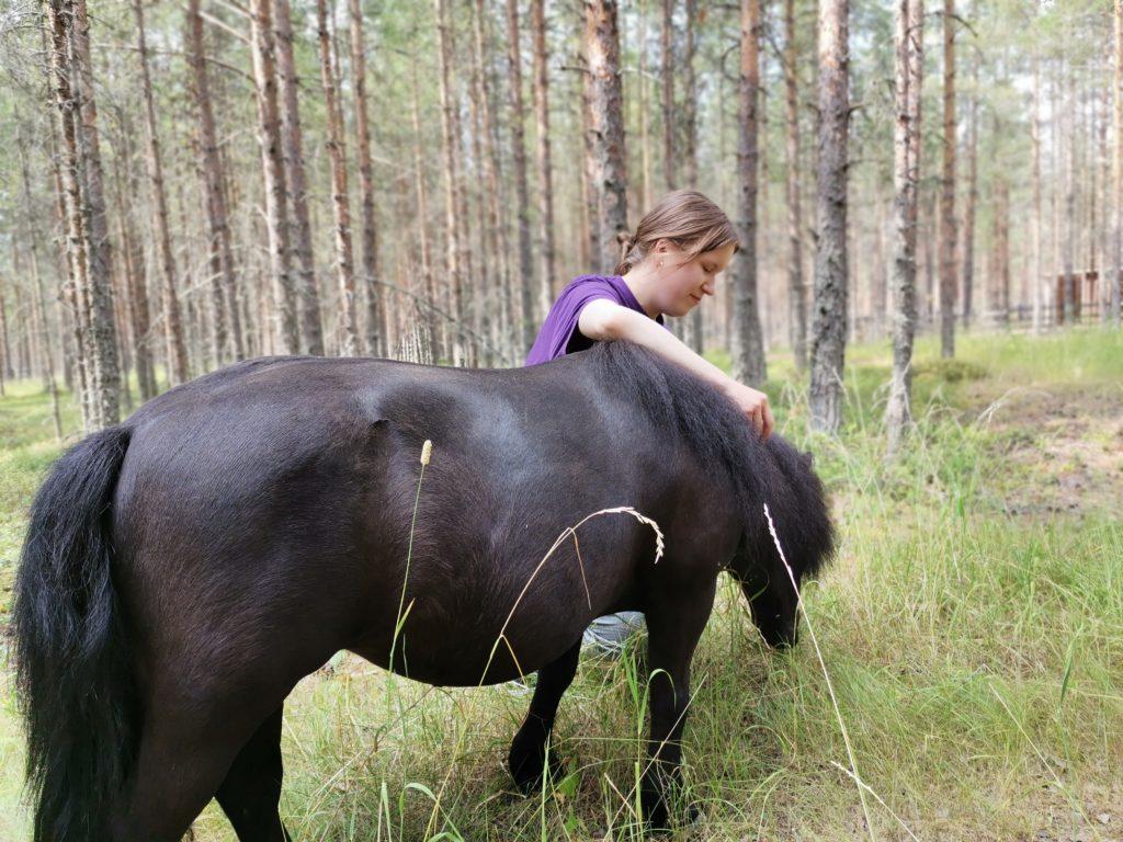 Tyttö silittää ponia metsässä.